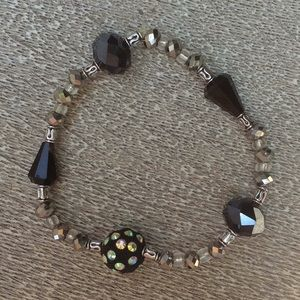 Vintage Handmade Shiny Black Beaded Bracelet
